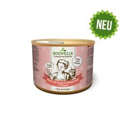 Landhausküche Katze Huhn mit Lachs und Borretschöl pâtée pour chats poulet et saumon sans céréales