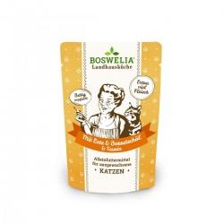 Bouchées au canard et volailles et huile de bourrache sans céréales pour chat Frischebeutel Katze Mit Ente Borretschöl