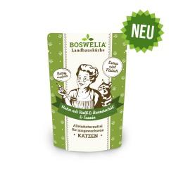 Bouchées au poulet et veau et huile de bourrache sans céréales pour chat Frischebeutel Katze Huhn und Kalb mit Borretschöl