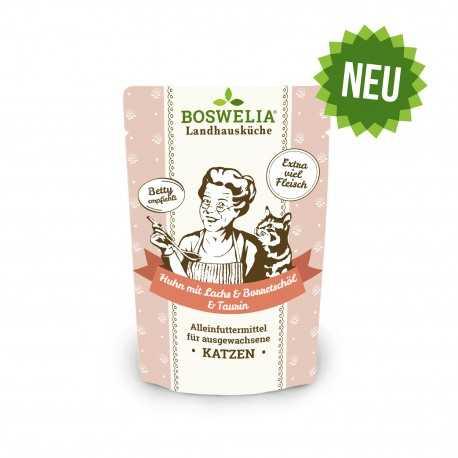 Bouchées au poulet et saumon et huile de bourrache sans céréales pour chat Frischebeutel Katze Huhn mit Lachs mit Borretschöl